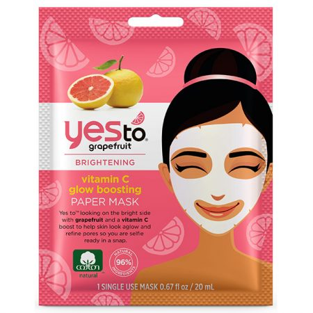 Yes To Grapefruit Vitamin C Glow-Boosting Paper Mask – Single Use